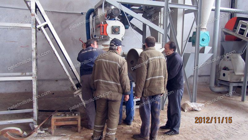 biomass pellet production equipment under comissioning