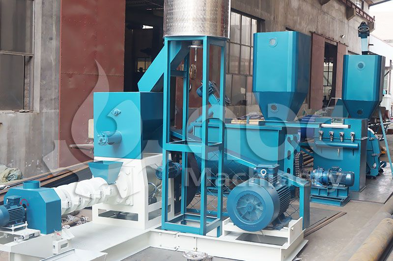complete set of  fish feed pellet extruding machine for sale cheap price