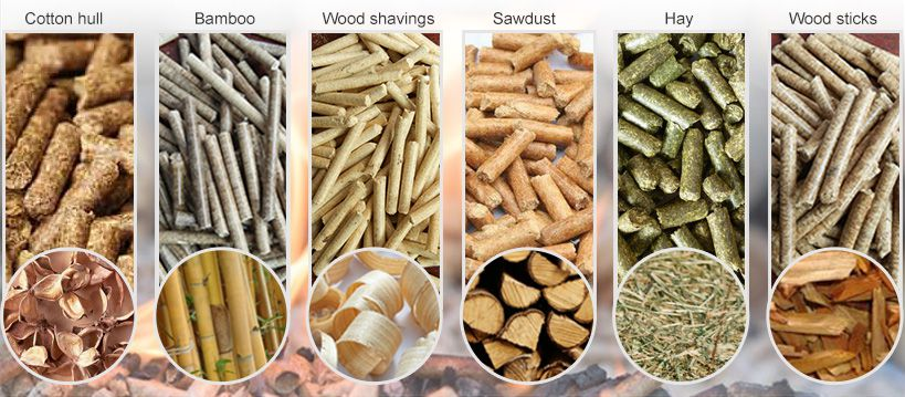 different biomass pellets