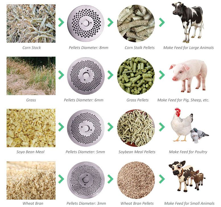 making poultry feed pellets for different animals (poultry and cattle)