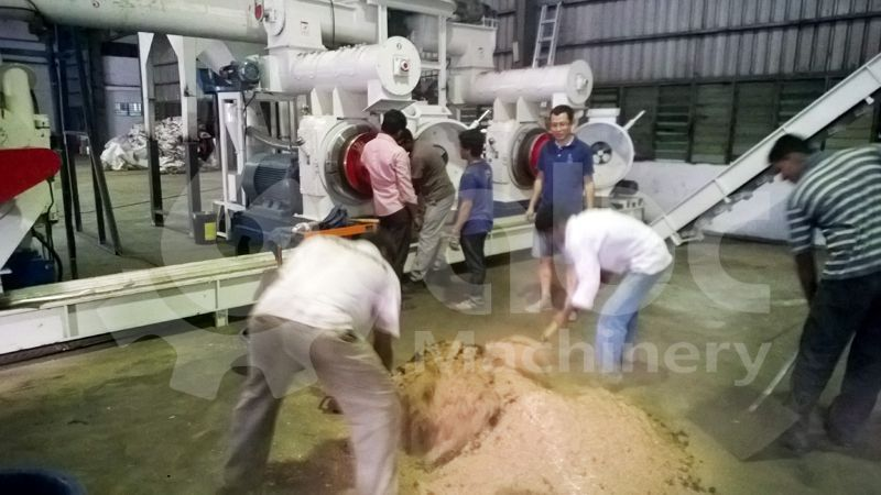 wood pellet production machinery test run