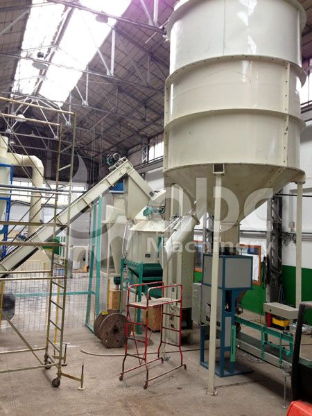 wood pellets cooling and bagging section of the pelletizing factory